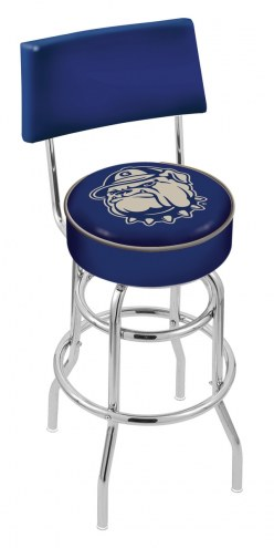 Georgetown Hoyas Chrome Double Ring Swivel Barstool with Back