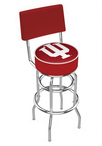 Indiana Hoosiers Chrome Double Ring Swivel Barstool with Back