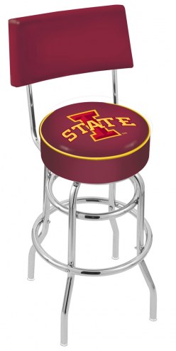 Iowa State Cyclones Chrome Double Ring Swivel Barstool with Back