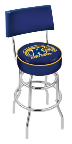 Kent State Golden Flashes Chrome Double Ring Swivel Barstool with Back