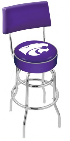 Kansas State Wildcats Chrome Double Ring Swivel Barstool with Back