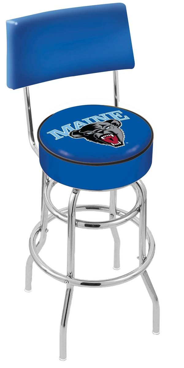 Awe Inspiring Maine Black Bears Chrome Double Ring Swivel Barstool With Back Beatyapartments Chair Design Images Beatyapartmentscom