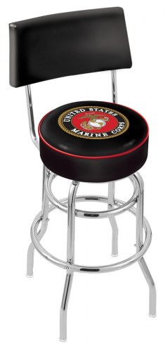 U.S. Marine Corps Chrome Double Ring Swivel Barstool with Back