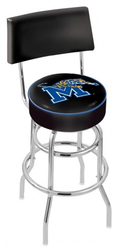 Memphis Tigers Chrome Double Ring Swivel Barstool with Back