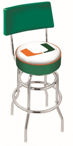 Miami Hurricanes Chrome Double Ring Swivel Barstool with Back