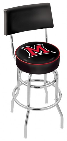 Miami of Ohio RedHawks Chrome Double Ring Swivel Barstool with Back