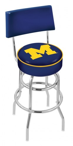 Michigan Wolverines Chrome Double Ring Swivel Barstool with Back