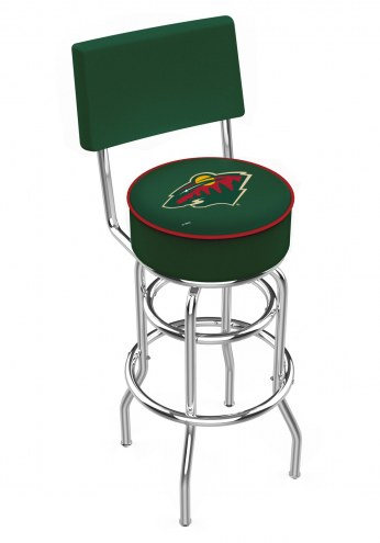 Minnesota Wild Chrome Double Ring Swivel Barstool with Back