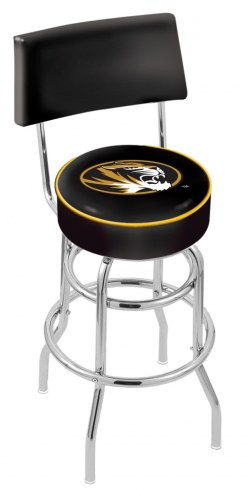 Missouri Tigers Chrome Double Ring Swivel Barstool with Back