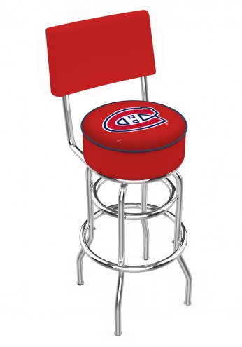 Montreal Canadiens Chrome Double Ring Swivel Barstool with Back