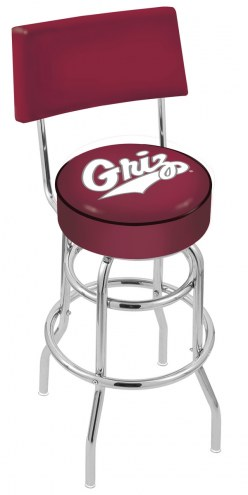 Montana Grizzlies Chrome Double Ring Swivel Barstool with Back