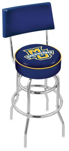 Marquette Golden Eagles Chrome Double Ring Swivel Barstool with Back