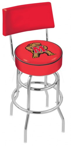 Maryland Terrapins Chrome Double Ring Swivel Barstool with Back