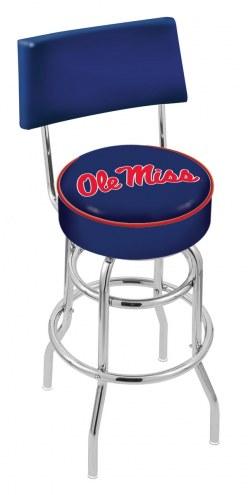 Mississippi Rebels Chrome Double Ring Swivel Barstool with Back