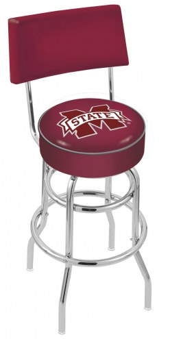 Mississippi State Bulldogs Chrome Double Ring Swivel Barstool with Back