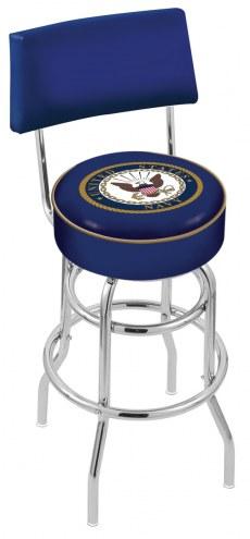 U.S. Navy Midshipmen Chrome Double Ring Swivel Barstool with Back