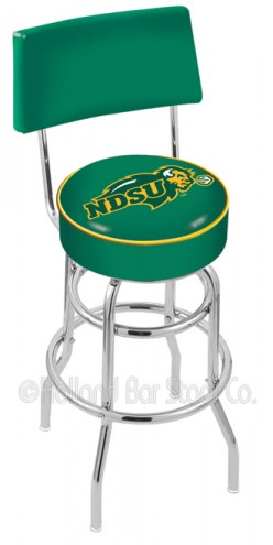 North Dakota State Bison Chrome Double Ring Swivel Barstool with Back
