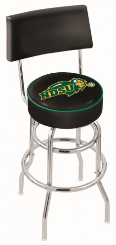North Dakota State Bison NCAA Chrome Double Ring Swivel Barstool with Back