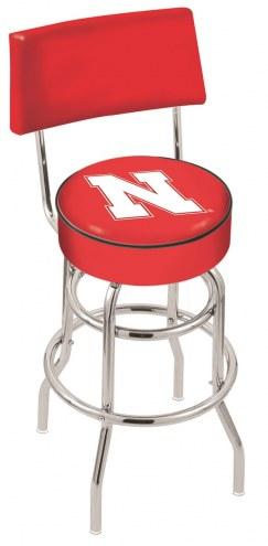 Nebraska Cornhuskers Chrome Double Ring Swivel Barstool with Back