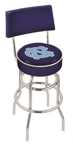 North Carolina Tar Heels Chrome Double Ring Swivel Barstool with Back