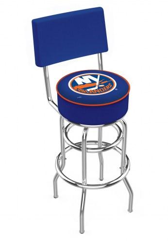 New York Islanders Chrome Double Ring Swivel Barstool with Back