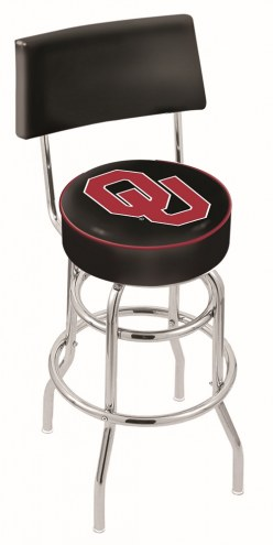 Oklahoma Sooners Chrome Double Ring Swivel Barstool with Back