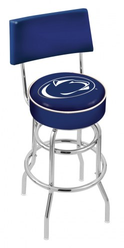 Penn State Nittany Lions Chrome Double Ring Swivel Barstool with Back