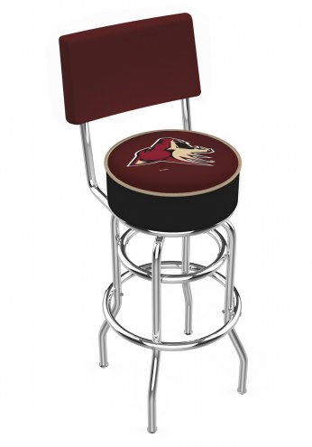Arizona Coyotes Chrome Double Ring Swivel Barstool with Back