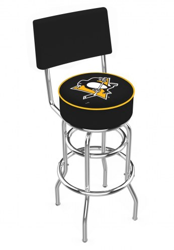 Pittsburgh Penguins Chrome Double Ring Swivel Barstool with Back