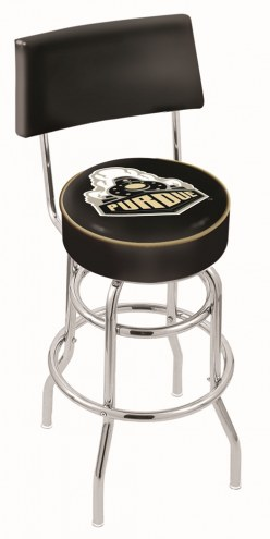 Purdue Boilermakers Chrome Double Ring Swivel Barstool with Back