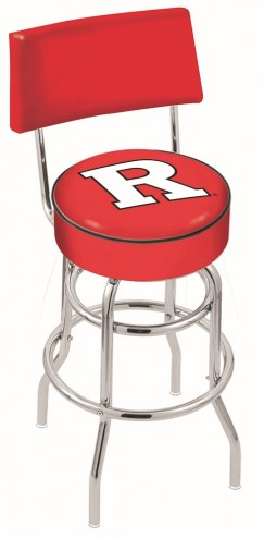 Rutgers Scarlet Knights Chrome Double Ring Swivel Barstool with Back