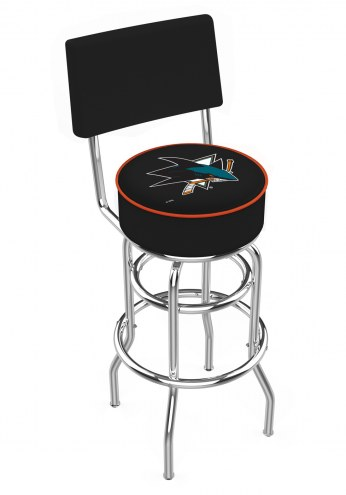 San Jose Sharks Chrome Double Ring Swivel Barstool with Back