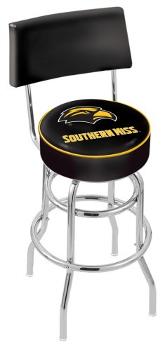 Southern Mississippi Golden Eagles Chrome Double Ring Swivel Barstool with Back