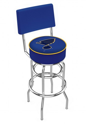 St. Louis Blues Chrome Double Ring Swivel Barstool with Back