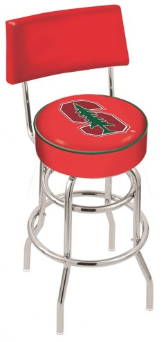 Stanford Cardinal Chrome Double Ring Swivel Barstool with Back