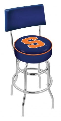 Syracuse Orange Chrome Double Ring Swivel Barstool with Back