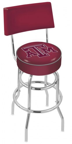 Texas A&M Aggies Chrome Double Ring Swivel Barstool with Back
