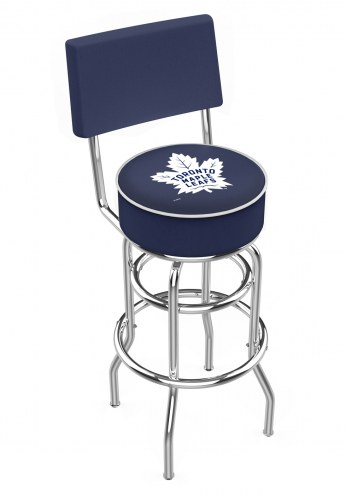 Toronto Maple Leafs Chrome Double Ring Swivel Barstool with Back