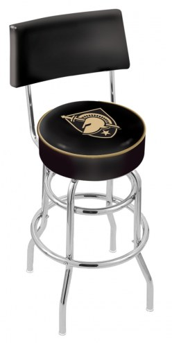 Army Black Knights Chrome Double Ring Swivel Barstool with Back