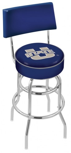 Utah State Aggies Chrome Double Ring Swivel Barstool with Back