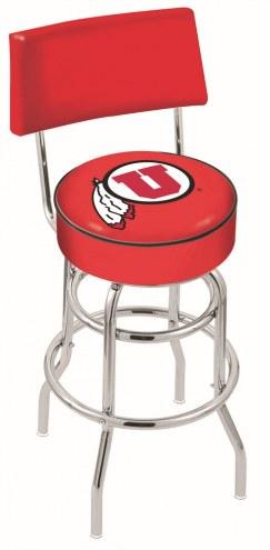 Utah Utes Chrome Double Ring Swivel Barstool with Back