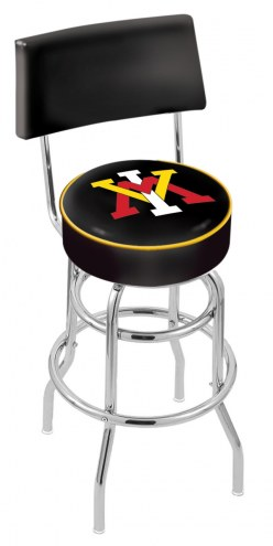 Virginia Military Institute Keydets Chrome Double Ring Swivel Barstool with Back