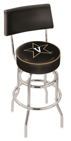 Vanderbilt Commodores Chrome Double Ring Swivel Barstool with Back