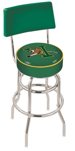 Vermont Catamounts Chrome Double Ring Swivel Barstool with Back