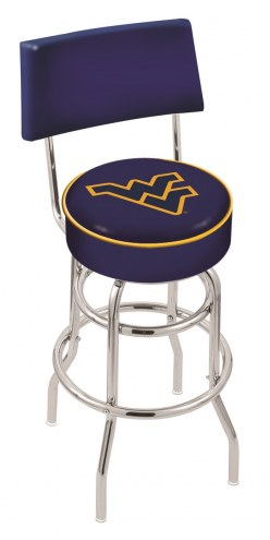 West Virginia Mountaineers Chrome Double Ring Swivel Barstool with Back