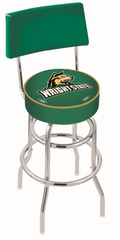 Wright State Raiders Chrome Double Ring Swivel Barstool with Back