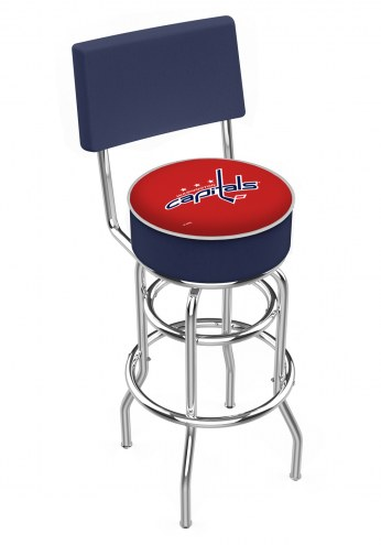 Washington Capitals Chrome Double Ring Swivel Barstool with Back