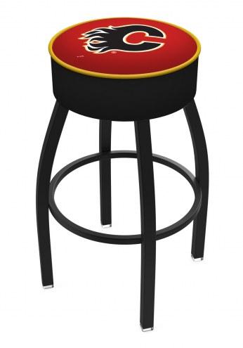 Calgary Flames Black Base Swivel Bar Stool