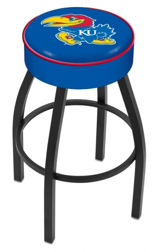 Kansas Jayhawks Black Base Swivel Bar Stool