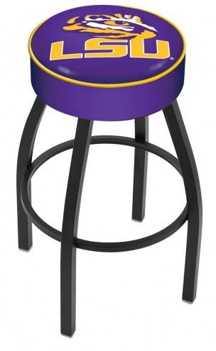 LSU Tigers Black Base Swivel Bar Stool
